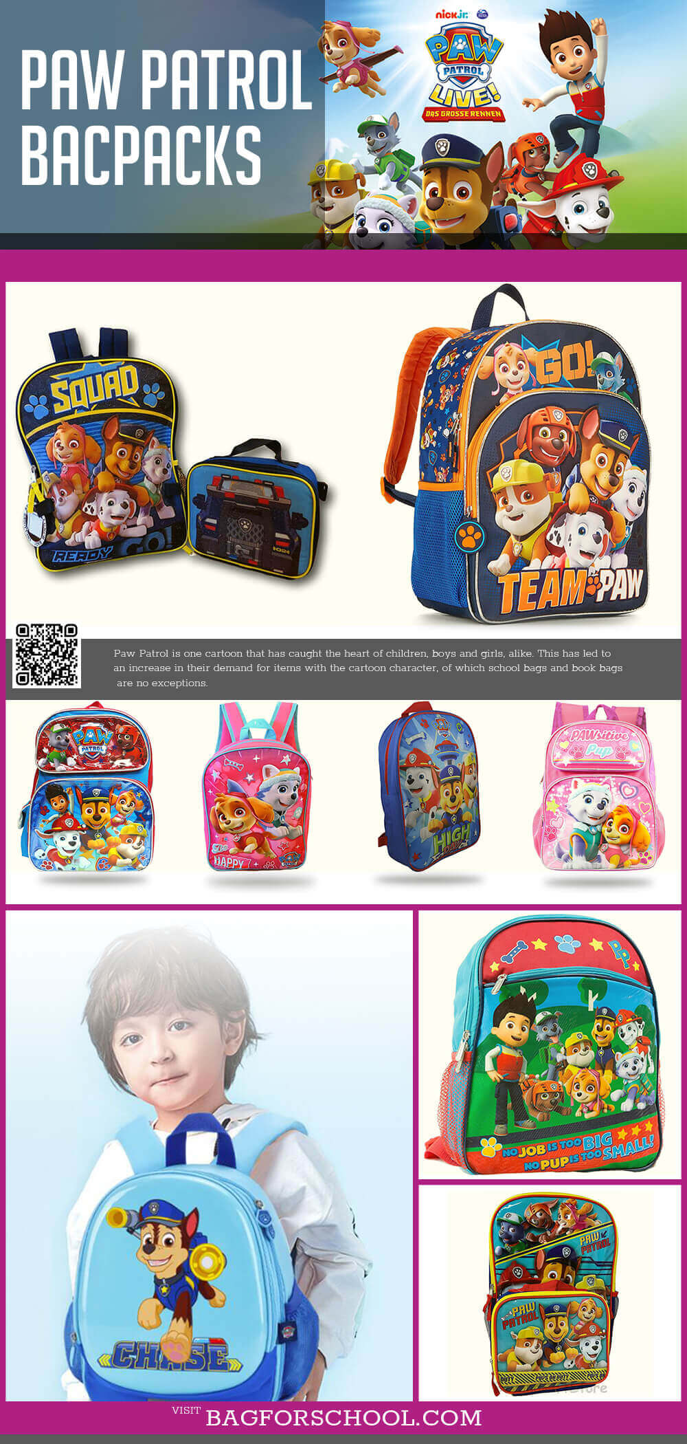 Paw Patrol Backpacks For Boys And Girls