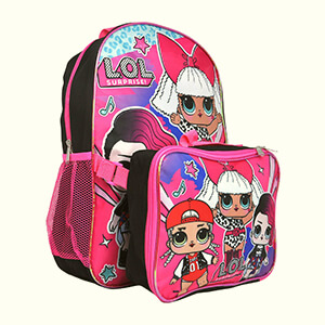 LOL Surprise Large School Backpack with Lunch Box