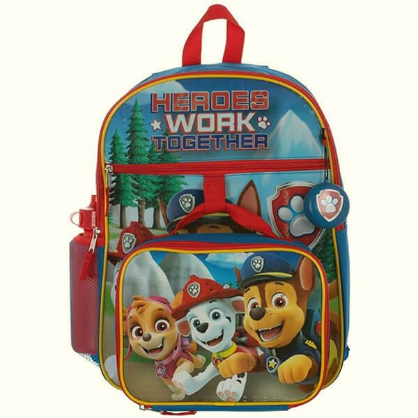 Paw Patrol Set - Backpack, Lunch Kit, Water Bottle, Squishy Dangle, And Gel Bead Ice Pack