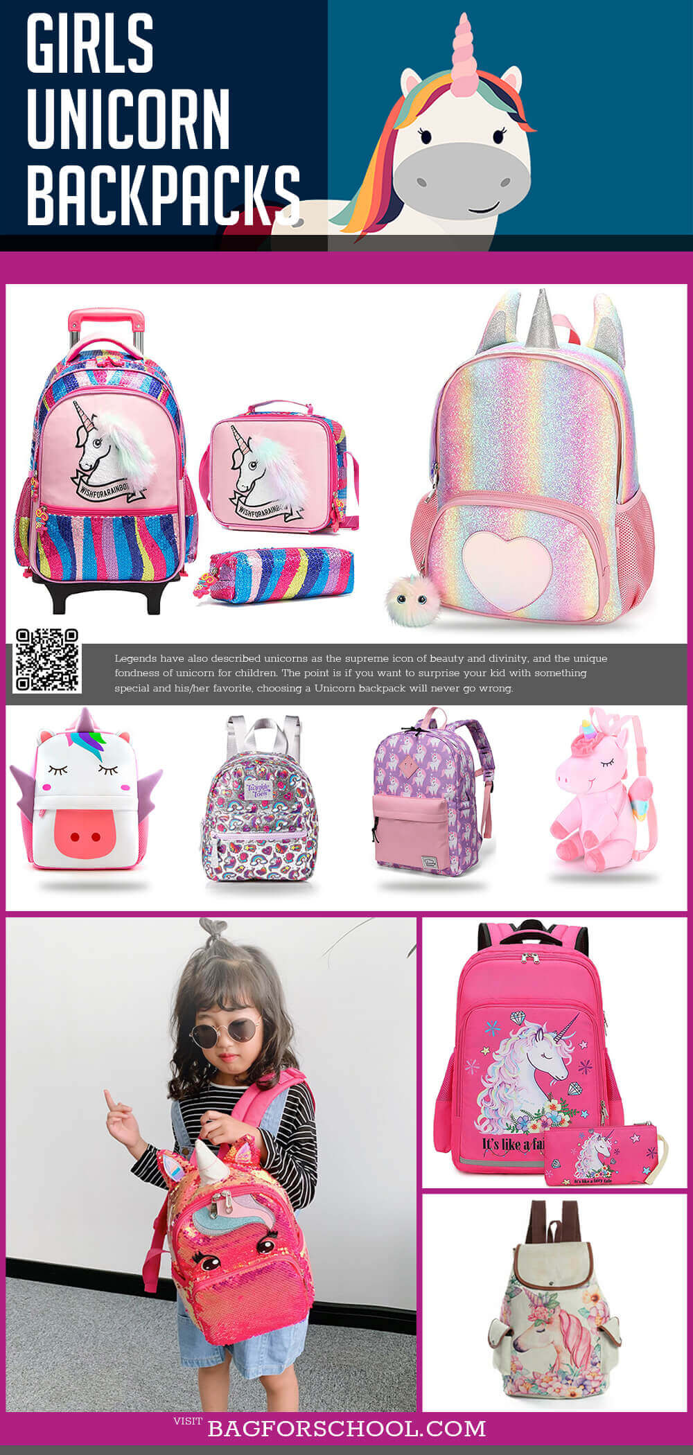 Girls Unicorn Backpacks