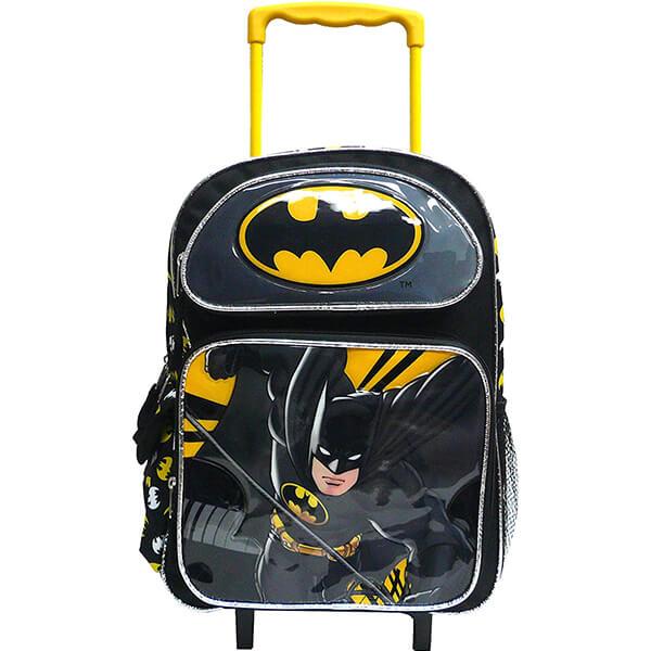 Bat Man Kids Rolling Backpack