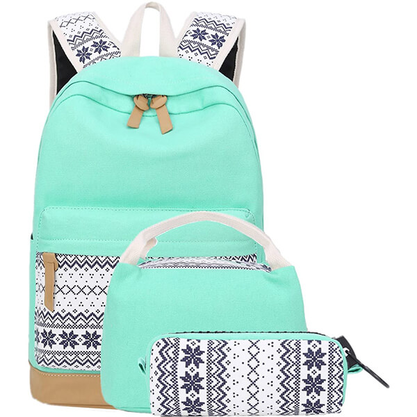 Retro Printing Backpack and Lunchbox Set