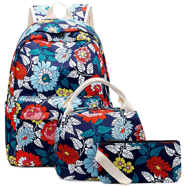 Floral Girls Backpack with Lunch Box