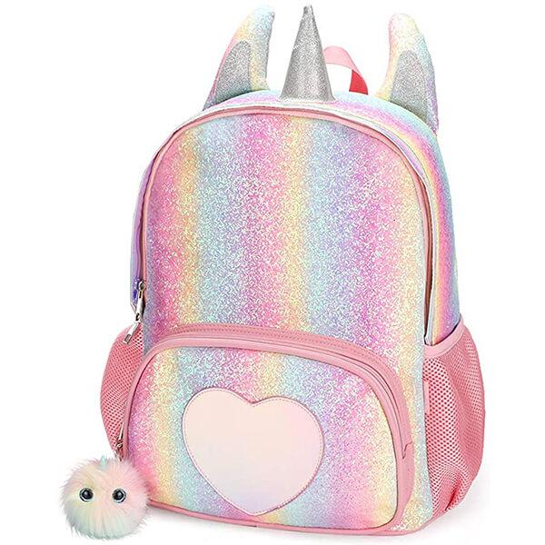 Love Rainbow Unicorn Ears and Horn Girls Backpack