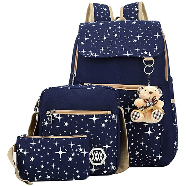 Sparkly Star Girls Backpack with Lunch Box