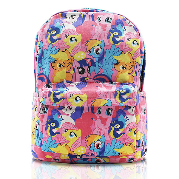 Cute Characters Print Canvas Backpack