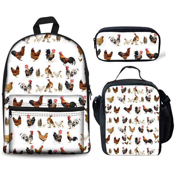 Vibrant Chicken Printing Backpack and Lunchbox Set with Pencil Case