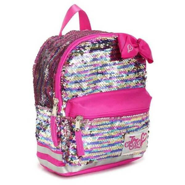 Silver Sequin Bow Mini Bookbag