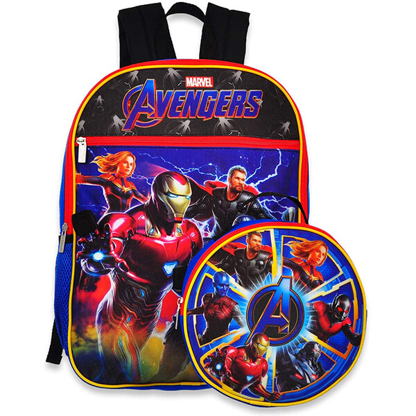 Marvel Avengers Backpack with Round Shield Lunchbox