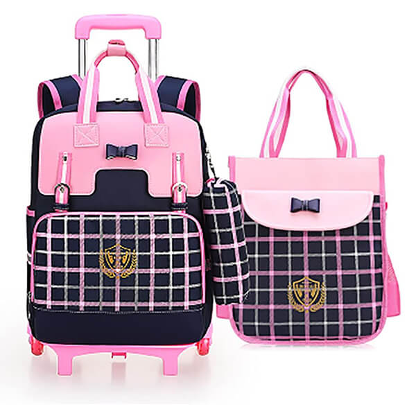 Royal Look and Black Bow Rolling Backpack Lunch Bag