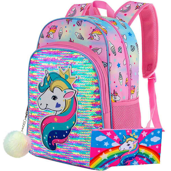 Queen Rainbow Girls Unicorn Backpack and Pencil Bag