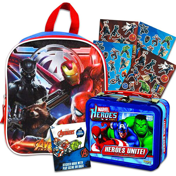 Marvel Heroes Unite Avengers Backpack and Lunchbox with Stickers