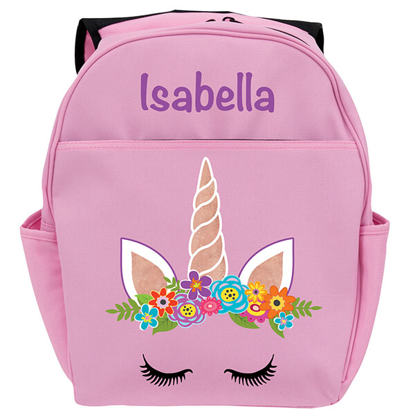 Personalized Pink Happy Unicorn Backpack