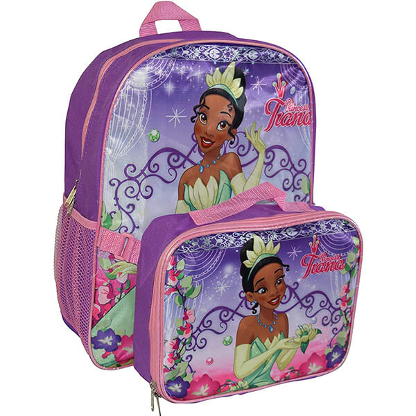 Princess Tiana Girls Backpack with Lunch Box