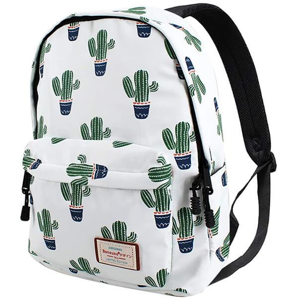 White Cactus Waterproof School Backpack