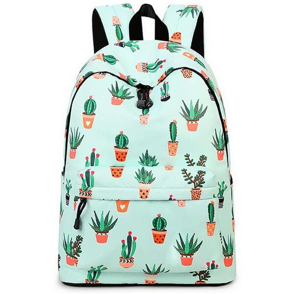 Cute Cactus Waterproof College Backpack