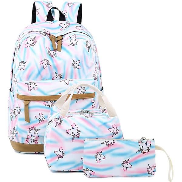 Cute Lightweight Unicorn School Backpack Set