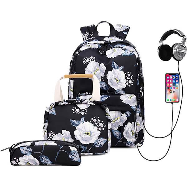 White-flower Waterproof College Backpack