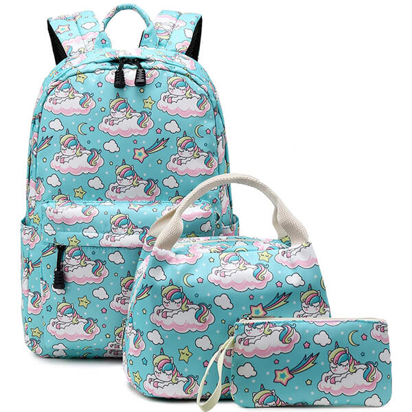 A Unicorn Teal Adorable Girls Unicorn Backpack Set