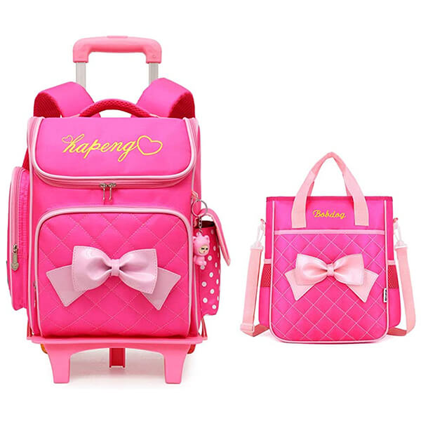 Cute Bow Kids Roller Backpack and Lunchbox