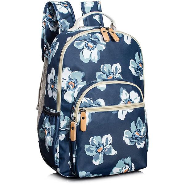 Floral Water-resistant School Backpack