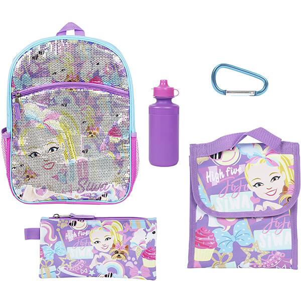 Purple JoJo Siwa Sequin Backpack with School Essentials Set