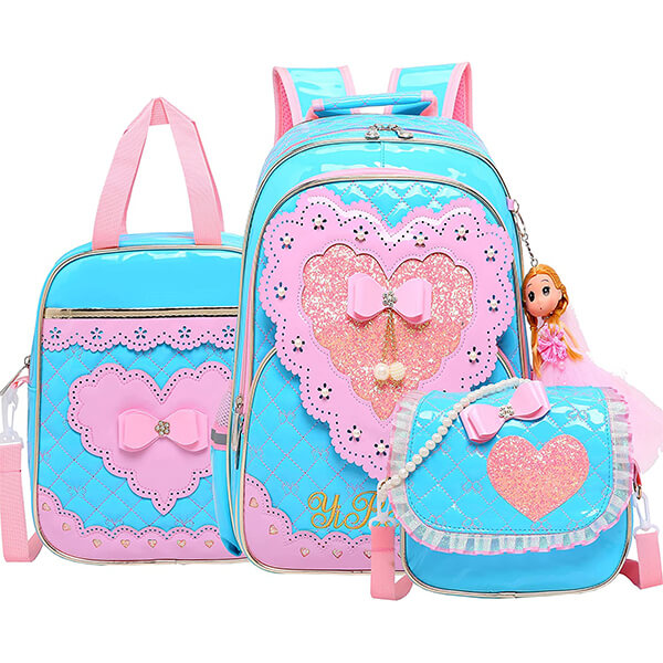 Bowknot Heart Girls Unicorn Backpack and Lunch Box