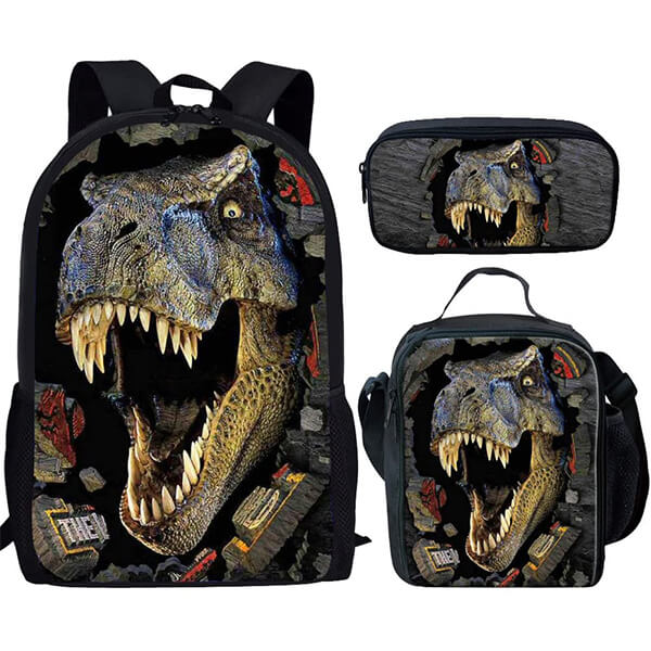 Cool Dinosaur Backpack with Lunch Box and Pencil Case