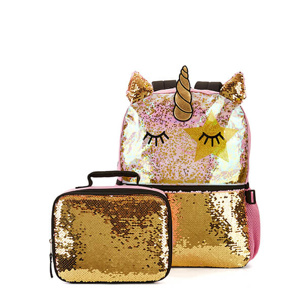 3D Horn Brushed Sequin Love Unicorn Backpack with Lunchbox