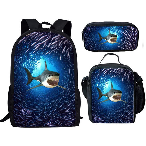 Shark Print Backpack and Lunchbox Set