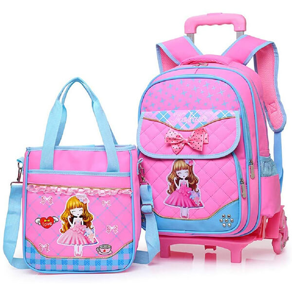 Bowknot Princess Kids Roller Backpack and Lunchbox