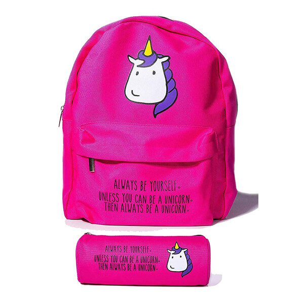 Cute Hot Pink Unicorn Kids Backpack