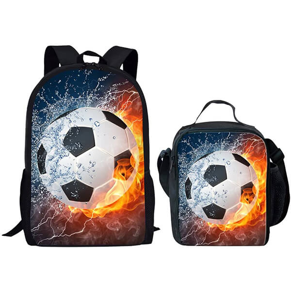 Fire-Water Soccer Backpack and Lunchbox