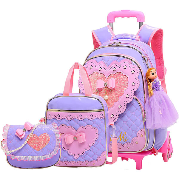 Love Bow Kids Roller Backpack and Lunchbox