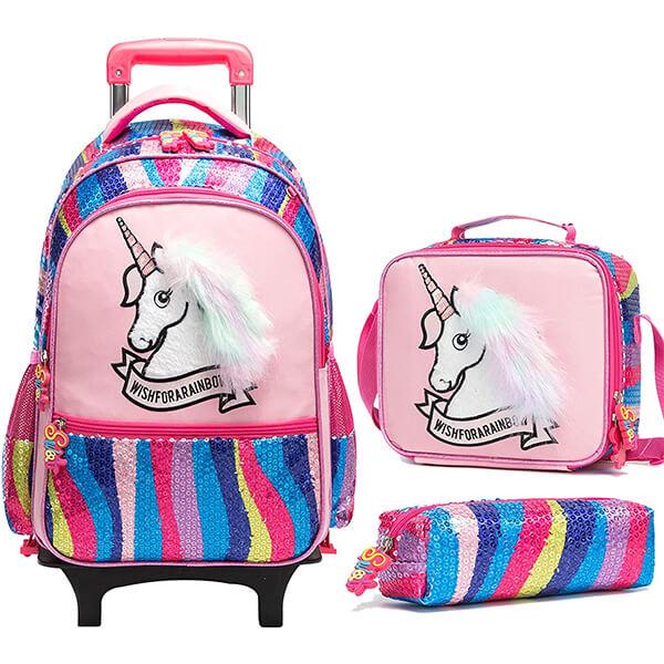 Rainbow Wheeled Unicorn Backpack for School