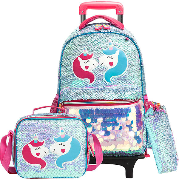 Unicorn Kids Rolling Backpack and Lunchbox