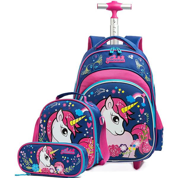 Flora Rolling Unicorn Backpack Set for School