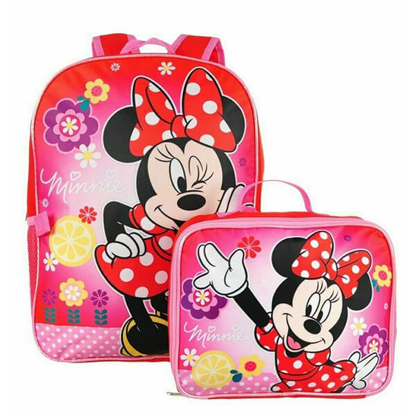 Minnie Mouse Girls Backpack with Lunch Box