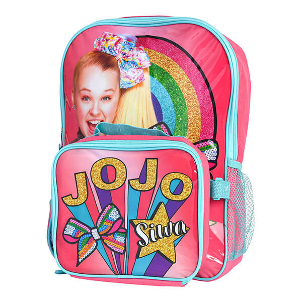 Rainbow Sequin Bow Jojo Siwa Backpack and Lunchbox