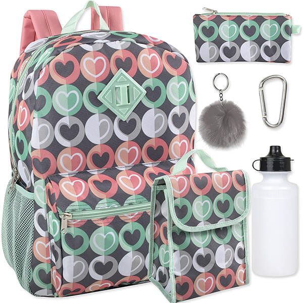 Colorful Hearts 6 in 1 Backpack Lunch Bag