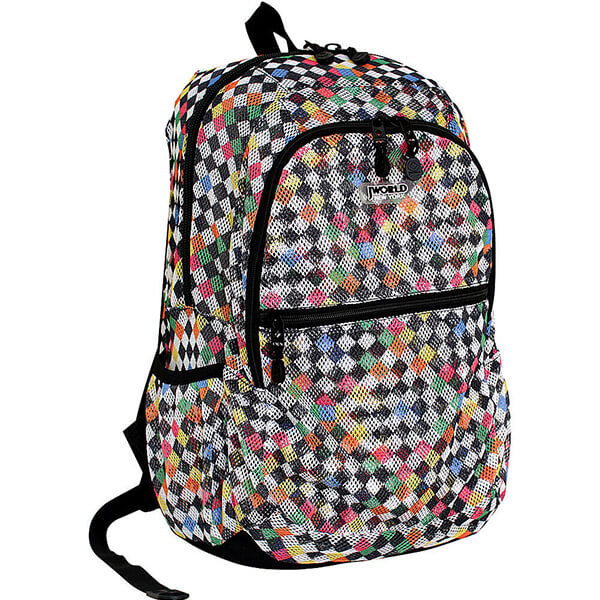 Checkered Print Everyday Mesh Backpacks