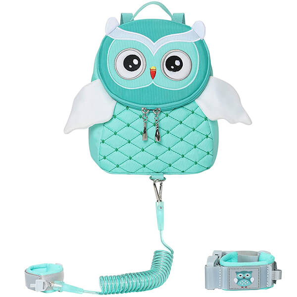 Owl Leash Backpack with Anti-Lost Wrist Link Leash for Kid Safety Walking