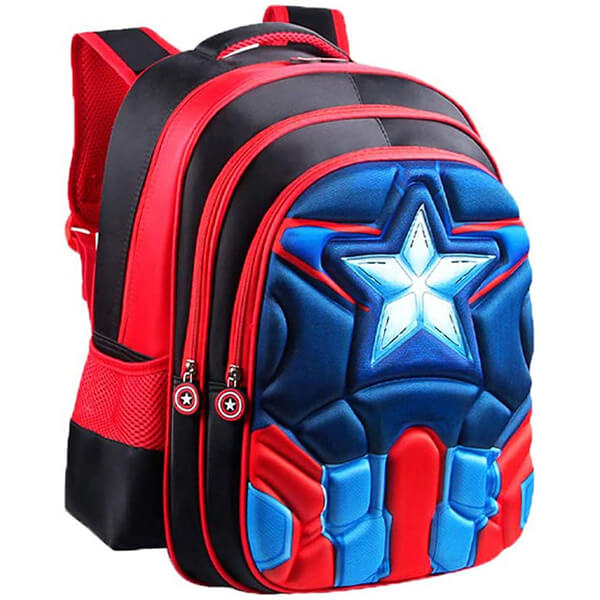 3D Anime Superhero Captain America Backpack for Kids