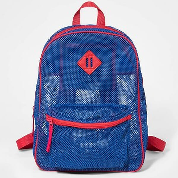 Blue Mesh Grade Schooler Mesh Clear Backpacks