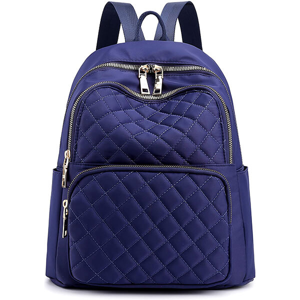 Purse Black Quilted Nylon Backpack