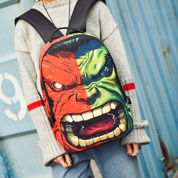 Two-Face Red and Green Incredible Hulk Backpack
