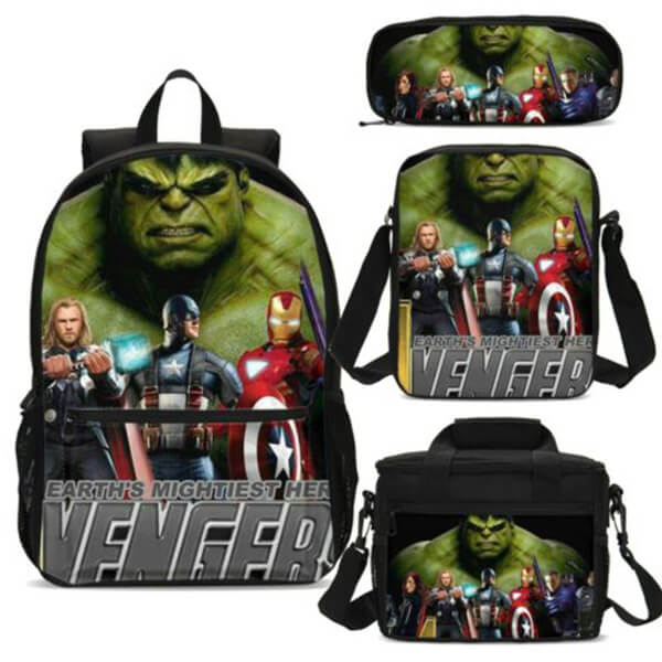Avengers Team Hulk Backpack Combo Set with Lunch Bag