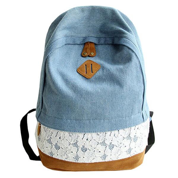 Girl's Choice Lace Denim Bookbag