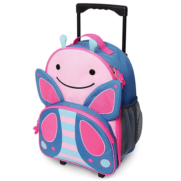 Kids Luggage with Wheels Butterfly Rolling Backpack