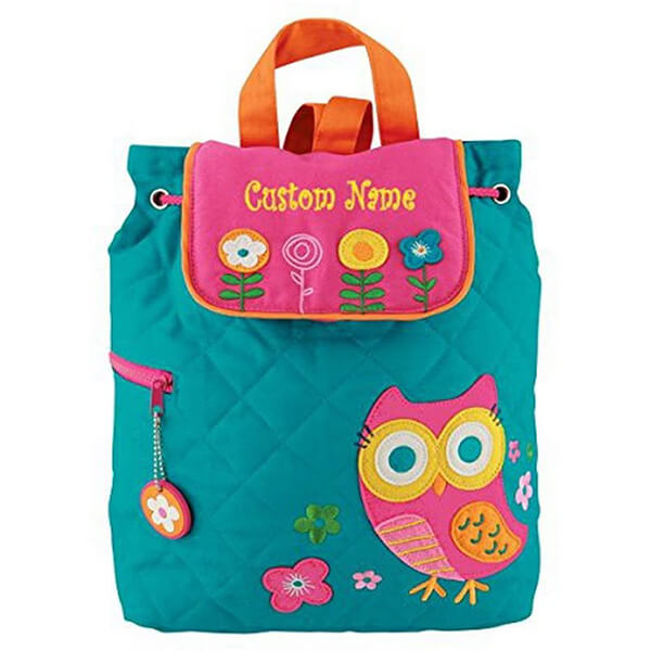 Custom Name Teal Embroidered Cotton Owl Book Bag